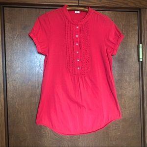 J Crew Factory cotton fuchsia blouse, bead detail